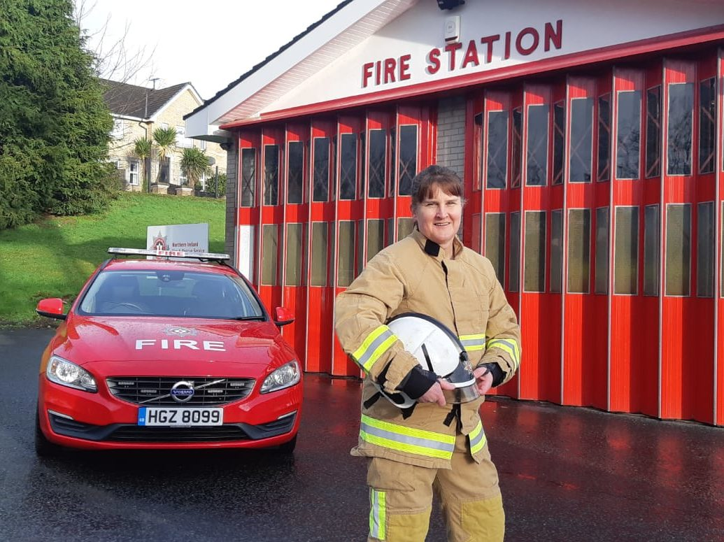 Station Commander Karen McDowell standing in-front of her fire station