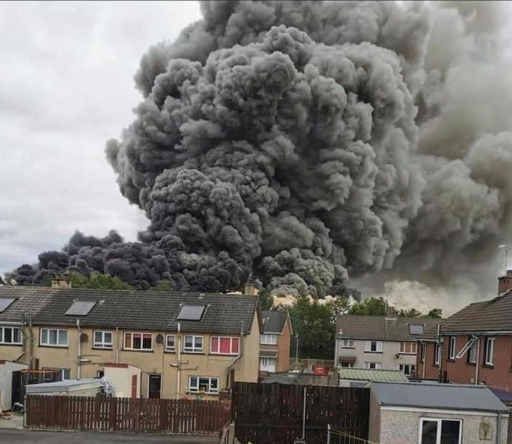 Massive cloud of smoke caused by fire