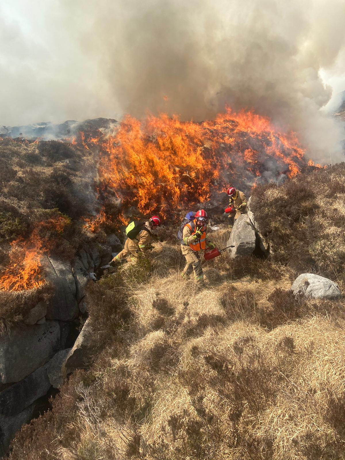 NIFRS Fighting a dry grass fire