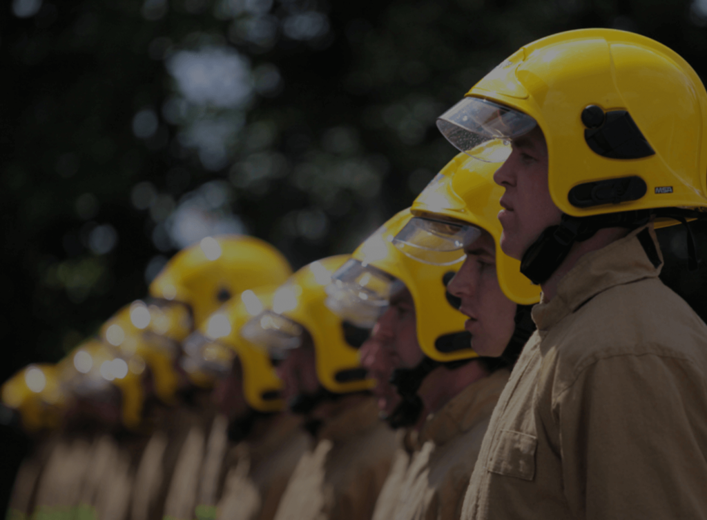 Line of NIFRS Firefighters